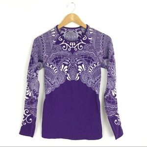 Athleta Long Sleeve Patterned Compression Top